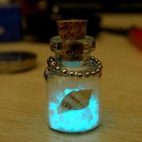 Wholesale Blue Sand Pendant - Creative small jewelry Japan Okinawa love night light sand phone chain key chain luminous Wishing Bottle pendant