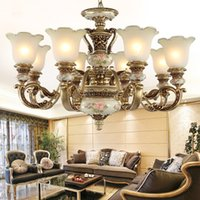 Wholesale Large Iron Pendant Light - Luxury European Vintage Foyer Chandelier Lighting Painting Resin Ceiling Pendant Lamp Large Chandelier for Hotel Home Deco