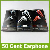 preço de fones de ouvido blackberry venda por atacado-Preço de fábrica Mini 50 cêntimos com microfone e botão de mudo SMS Áudio 50 cêntimos Fones de ouvido intra-auriculares STREET by 50 Cent JF-A6