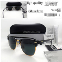 Wholesale Circle Shades Men - AAAA+ Quality Women Men Sunglasses Circle Shade Glass Lens Brand Design Vintage UV400 Sun Glasses Unisex Eyeglasses With All Case Sticker