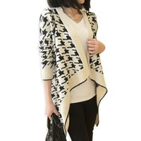 Wholesale Vintage Crochet Cape - Wholesale-Houndstooth Irregular Knitted Cardigan Women Long Sleeve Cape Poncho Cardigans 2015 Autumn Vintage Shawl Coat Sweter Mujer