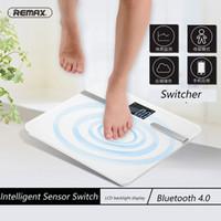 akıllı ölçekli bluetooth toptan satış-Toptan-Orijinal Remax mini akıllı banyo vücut tartı mi dijital terazi tartı Android4.3 IOS Bluetooth 4.0 PK YUNMAI