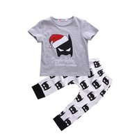 Wholesale christmas baby clothes - Christmas BABY Clothing Todder Boy Clothes Set Boys Shirt Legging Pants Kids Boutique Clothes Suit Grey Outfit Cartoon Playsuit Tracksuit