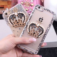 Luxus DIY Strass Crown bling diamant Zurück Abdeckung Mode 3D phone case für Samsung A8 S4 S5 S6 S7