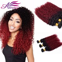 Ombre Brazilian Hair Hair Extensions Two Tone 1B / BG Couleur 8A Ombre Brazilian Kinky Curly Hair Wave Bundles 3 Pcs Lot