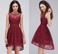 Wholesale Beaded High Low Homecoming Dress - 2017 Burgundy High Low Short Homecoming Dresses Full Lace Jewel Neck Short Prom Cocktail Formal Party Wear Cheap Graduation Dress CPS692