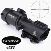 Wholesale Rifle Night Visions - FIRE WOLF Tactical 4X32LER Red Dot Sniper Scope Airsoft Sight Riflescope Night Vision Rifle Scope for Hunting Shooting