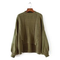 Wholesale Knitting Two Color Sleeve Sweater - Autumn and Winter New Sweater 2017 New Knitting Loose Fake Two Piece Long Sleeve Lantern Sleeve Female Solid Pullover Sweater
