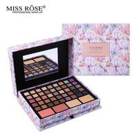Wholesale Concealer Lipstick - Wholesale-Professional Flower Makeup Cosmetic Set Gift For Women Eyeshadow Lipstick Concealer Blush Mirror Kits Make Up Brand MISS ROSE