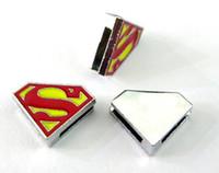 Wholesale Superman Bracelets - Internal Dia. 8MM DIY Alloy Slide Charm Superman Fit For Key Chains Leather Bracelet Wristband Fashion Jewelrys