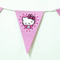 Wholesale Theme Kitty - Wholesale- 2015 cute 2.5m hello kitty cartoon theme happy birthday party supplies kids boy girl baby favor 1 set banner including 10 flags