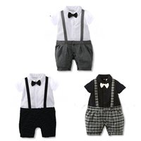 Wholesale Boys Romper Bow Tie - 2017 New Fashion Sale Hot Summer Baby Clothes Short Sleeve Turn-down Collar Cotton Solid Braces Boys Baby Romper Bow Tie Plaid Babyworks