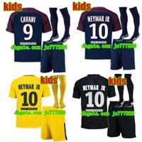 Wholesale Soccer Jerseys Paris - 2017 kids kits+sock Paris NEYMAR JR soccer jersey 17 18 CAVANI PSG MARQUINHOS LUCAS DI MARIA MATUIDI DANI ALVES Children football shirts
