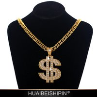 Hip Hop Jewelry femme Colliers Crystal diamant diamante dollar pendentif monnaie Collier long Chaîne en or Fashion trendsetter mens Jewelry