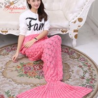 Wholesale Knit Throws Blankets - 180x90CM Mermaid Blanket Adult Mermaid Tail Blanket For Sofa Sleeping Soft Thicken Blanket Throws
