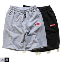 Men sport pants sale - New summer Original brand supremo embroidery men s cotton shorts leisure sports beach pants hip hop street hot sale size XXL black grey