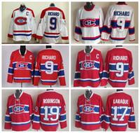 хоккей на льду оптовых-Монреаль Канадиенс 9 Морис Ричард Джерси Мужчины Красный Белый Хоккей 19 Ларри Робинсон 17 Жорж Laraque Трикотажные Изделия Высшего Качества На Продажу