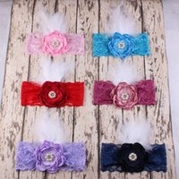 Wholesale Baby Feather Headband Black - Baby Girls Lace Headbands Kids Girl Flower Headband 2017 Infant Princess Diamond Feather Headband Children Hair Accessories Photo Props B811