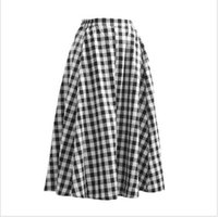 ingrosso gonne a vita nera-Alta qualità Elastico in vita Cotone Nero Bianco Plaid Gonna donna Vintage Mori stile ragazza Casual Summer Long Skirt saia feminina