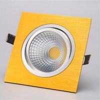 led leuchtet goldscheinwerfer großhandel-Quadratischer Dimmable 10W Gold Shell PFEILER führte vertiefte hinunter Lichter dimmable führte Scheinwerferlampe Wechselstroms AC90-240V warmes / kaltes Weiß + geführte Fahrer