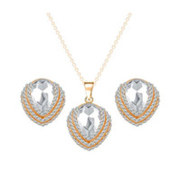 Wholesale Teardrop Crystal Bridal Set - New Bridal Jewelry Sets 18K Gold Plated AAA+ Clear Crystal Cluster Teardrop Stud Earrings Chain Necklace for Wedding Best Gift