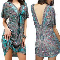 Wholesale Loose Midi Dress Sleeves - Women Plus Size Backless Sexy Soft Milk Silk Vintage Boho Print Midi Backless Dresses V-neck Ethnic Casual loose Waist Beach Dress
