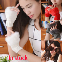 mão de tricô venda por atacado-Novas Mulheres Menina Luvas De Malha Moda Inverno Malha Dedo Faux Pele De Coelho Mão De Pulso Mais Quente Mitten Presentes de NATAL WX-G08