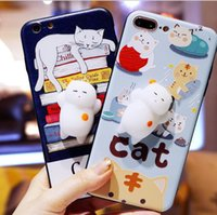 Wholesale Plus For Cats - For iphone 7 case 3D Cartoon fidget Kitty Cat Cases Soft Silicone Squeeze cats Stress relief squishy Cover for iphone 6 6s 7 plus iphone 8