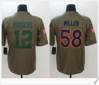 Novo # 58 Von Miller # 12 Aaron Rodgers American College Futebol Stitched Uniforms Camisas Bordados Salute To Service Mens Sports Jerseys