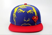 Wholesale Superman Beach - Kids Superman Snapback Hat Children Superhero Snapbacks Cap Boy Girl Summer Beach Sun Hats Cute Visor Caps