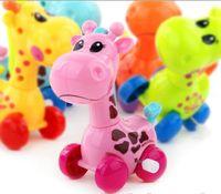 Wholesale Giraffe Head - Cute Cartoon Animal Giraffe Clockwork Wind Up Baby Toys Running Head Tail Swing Classic Newborn Toy Children Gift Spring Toy YH1002
