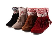 Wholesale Brown Suede Fringe Boots - fashion Womens Faux Suede Flower Boho Fringe Flats Heel Ankle Boots Shoes #08