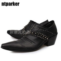 Wholesale High Elevator Shoes Men - Popular british style pointed toe leather shoes male elevator shoes low rivet man leather shoes man's high-heeled shoe