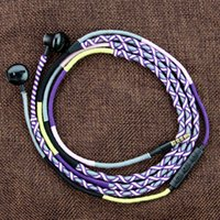 Wholesale Handmade Earphone - Earphone Handmade Rope Earphone Headset Fabric Braided Tangle Free Earphone With Mic Suitable For Iphone 6 Xiaomi Sumsung Android Devices