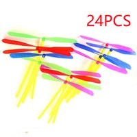 Wholesale Bamboo Arrows - Wholesale-24pcs Novelty Plastic Bamboo Dragonfly Propeller Outdoor Classic Toy Kid Gift Rotating Flying Arrow Multicolor Random Color