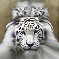 Wholesale White Tiger Bedspreads - 3D White Tiger Bedding sets duvet cover set bed in a bag sheet bedspread doona quilt covers linen Queen size Full double 4PCS