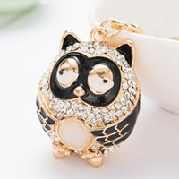 Wholesale Men Owl Pendants - Bling Bling Owl Metal Keychain Keyring Car Keychains Purse Charms Handbag Pendant