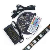 Wholesale Leds Reel - Black PCB Board 5050 Led RGB Strip Light 5M Reel IP65 IP20 Led Tape Waterproof 300 LEDs +44 keys IR Remote+6A Power Supply