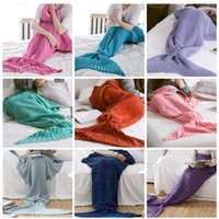 Wholesale Wholesale Throw Bag - 140*70cm Yarn Knitted Mermaid Tail Blanket Handmade Crochet Mermaid Blanket Throw Bed Sofa Wrap Lovely Sleeping Bag