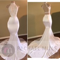 Wholesale Evening Party Dressess - 2018 New White Long Mermaid Prom Dresses With Lace Sequins High Neck Sleeveless Open Back Sweep Train Evening Dress Party Dressess