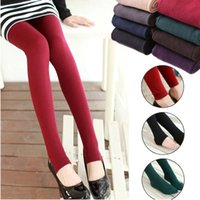 Wholesale Woman Cheap Leggings - 10pcs Cheap Women Fleece Black Fashion Leggings Thicken Winter Elastic Soild Slim Leggings Casual Wholesale ankle-length Legging Knitted