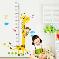 Wholesale Giraffe Wall Decals Stickers - Giraffe image Measuring height Vinyl Mural Wall Sticker Decals Kids Nursery Room Decor ,Removable cartoon wall stickers