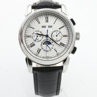 Wholesale Moon Dial - Wholesale 2017 New AAA PP mens watches luxury brand men automatic watch white dial watch glass back moon sport lether strap men watch