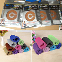 Wholesale cool ice - 88*33cm Ice Cold Towel Cooling Summer Sunstroke Sports Exercise Cool Quick Dry Soft Breathable Cooling Towel WX-T13