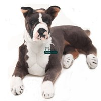 Wholesale Realistic Dog Toy - Dorimytrader pop realistic animal Boxer dog plush Toy big stuffed simulation dogs doll gift for children 31inch 80cm DY61895