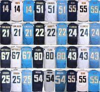 Wholesale Men S Flower - Wholesale #14 Dan Fouts Jersey Stitched Blue White #22 Jason Verrett #24 Brandon Flowers #21 LaDainian Tomlinson #25 Melvin Gordon Jerseys