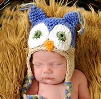 OWL Häkelarbeit Strickmütze Baby Jungen Mädchen Kinder Beanie Earflap Winter Cartoon Tier Cap Neugeborenes Kleinkind Kinder Foto Stütze Baumwolle Caps