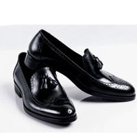 Wholesale vintage mens dress shoes - 2017 new British style classic vintage fashion loafer mens casual shoes genuine leather black men business