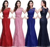 Wholesale Elegant Red Evening Dresses - Royal Blue Mermaid Long Prom Dresses 2017 New Designer Full Lace Elegant Burgundy Red Formal Evening Gowns Cheap Bridesmaid Dress CPS720