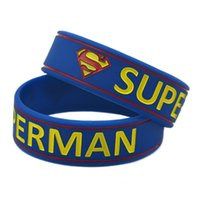 "Wholesale Wide Bracelet Bands - 50PCS Lot Hot Sale Superman Wristband Silicon Bracelet 3 4"" Wide Band Filled In Colour Blue Colour"
